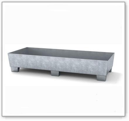Auffangwanne classic-line aus Stahl für 2 Fässer, verzinkt, unterfahrbar, o. Gitterrost,815x2010x355