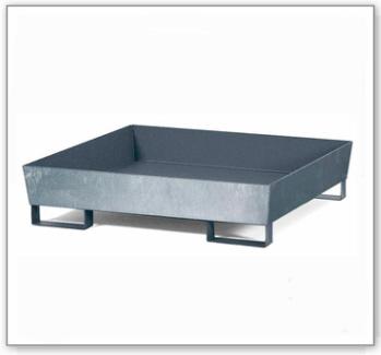 Auffangwanne classic-line aus Stahl für 1 Fass, verzinkt, unterfahrbar, o. Gitterrost
