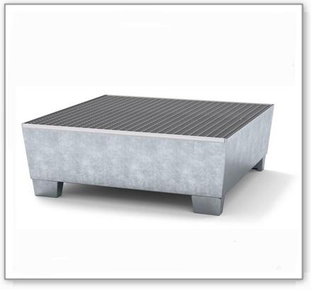 Auffangwanne classic-line aus Stahl für 4 Fässer, verzinkt,unterfahrbar, m. Gitterrost,1236x1210x430