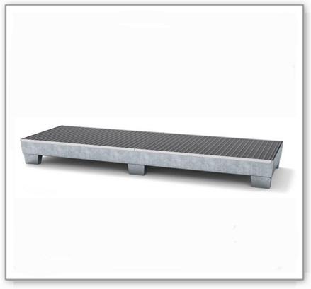Auffangwanne classic-line aus Stahl für 4 Fässer, verzinkt, unterfahrbar, m. Gitterrost,816x2470x250