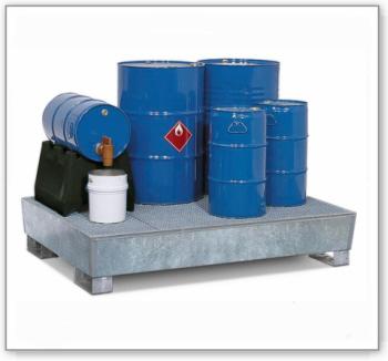 Auffangwanne classic-line aus Stahl für 4 Fässer, verzinkt,unterfahrbar, m. Gitterrost,1300x1780x343