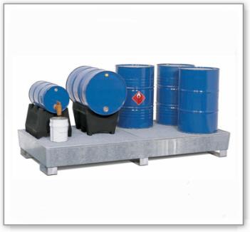 Auffangwanne classic-line aus Stahl für 8 Fässer, verzinkt,unterfahrbar, m. Gitterrost,1300x2680x343