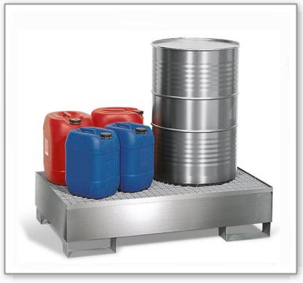 Auffangwanne pro-line aus Edelstahl für 2 Fässer,unterfahrbar,m. verzinktem Gitterrost, 850x1342x325