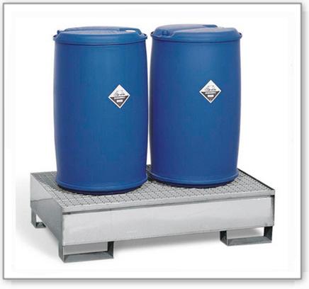Auffangwanne pro-line aus Edelstahl für 2 Fässer,unterfahrbar, m. Edelstahl-Gitterrost, 850x1342x325