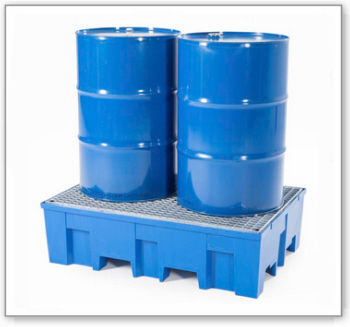 Kunststoff-Auffangwanne PolySafe Euroline Typ F2-200 W für 2 Fässer mit verzinktem Gitterrost