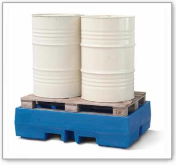 Auffangwanne PolySafe ECO aus Polyethylen (PE), für 2 Fässer à 200 Liter auf Europalette