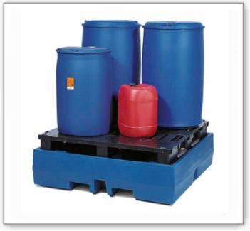 Auffangwanne PolySafe ECO aus Polyethylen (PE), mit PE-Palette, für 4 Fässer à 200 Liter