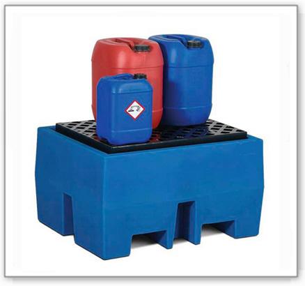 Auffangwanne PolySafe ECO aus Polyethylen (PE), mit PE-Gitterrost, für 1 Fass à 200 Liter