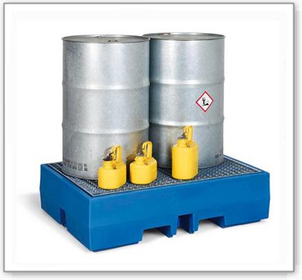 Auffangwanne PolySafe ECO aus Polyethylen (PE), mit verzinktem Gitterrost, für 2 Fässer à 200 Liter