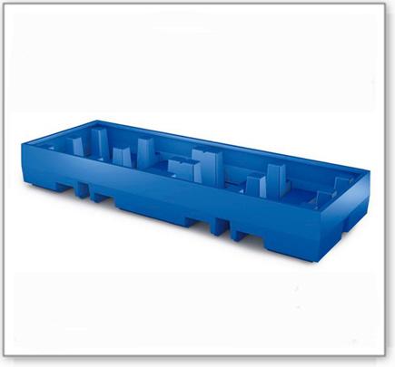 Auffangwanne PolySafe ECO aus Polyethylen, für 4 Fässer à 200 L auf 2 Europaletten (Anordnung 4x1)