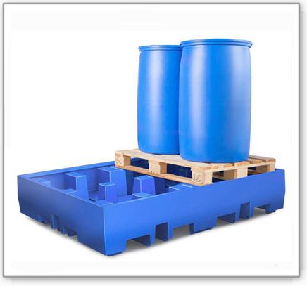 Auffangwanne PolySafe ECO aus Polyethylen, für 4 Fässer à 200 L auf 2 Europaletten (Anordnung 2x2)