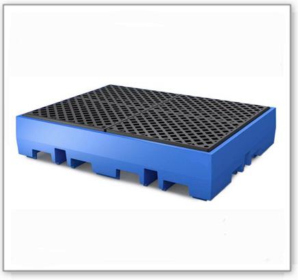 Auffangwanne PolySafe ECO aus Polyethylen, PE-Gitterrost, für 4 Fässer à 200 L (Anordnung 2x2)