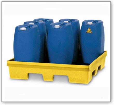 Auffangwanne PolySafe PSP 2.4 aus PE, gelb, Gabeltaschen, ohne Gitterrost, für 2 Fässer à 200 Liter