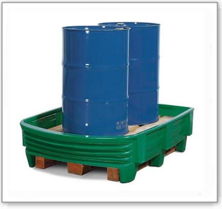 Sicherheitswanne SW aus Polyethylen (PE) mit flexibler Frontseite, für 2 Fässer à 200 Liter, grün