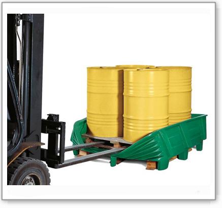 Sicherheitswanne SW aus Polyethylen (PE) mit flexibler Frontseite, für 4 Fässer à 200 Liter, grün