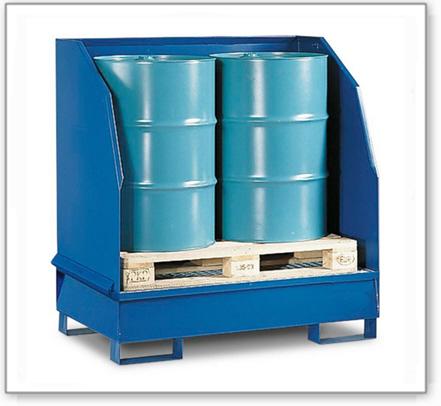 Gefahrstoffstation 2 GST-K aus Stahl, lackiert, für 2 Fässer à 200 Liter, 3-seitiger Spritzschutz