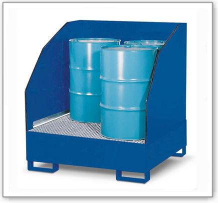 Gefahrstoffstation 4 GST-K aus Stahl, lackiert, für 4 Fässer à 200 Liter, 3-seitiger Spritzschutz
