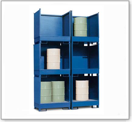 Gefahrstoffstation 2 P2-O aus Stahl, lackiert, für 2 Fässer à 200 Liter, 3 Wände, stapelbar