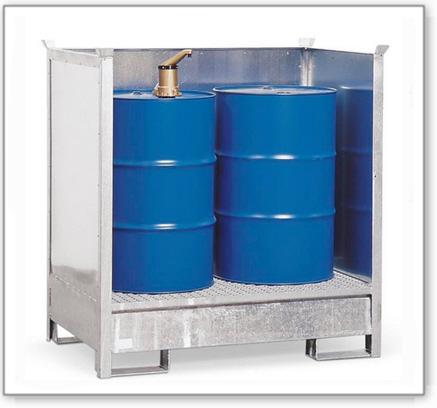 Gefahrstoffstation 2 P2-O aus Stahl, verzinkt, für 2 Fässer à 200 Liter, stapelbar
