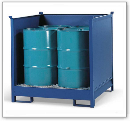 Gefahrstoffstation 4 P2-O aus Stahl, lackiert, für 4 Fässer à 200 Liter, 3 Wände, stapelbar