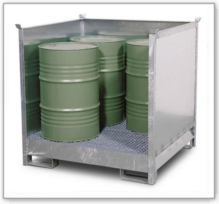 Gefahrstoffstation 4 P2-O aus Stahl, vezinkt, für 4 Fässer à 200 Liter, stapelbar