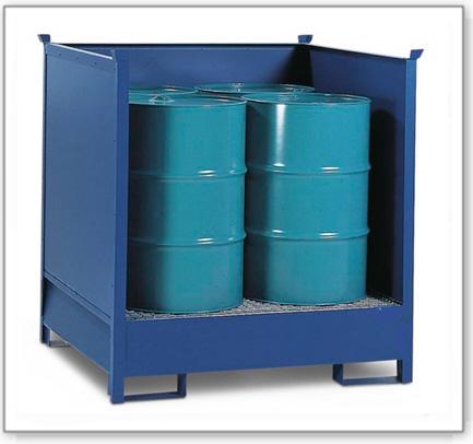 Gefahrstoffstation 4 P2-O-V50 aus Stahl, lackiert, für 4 Fässer à 200 Liter, 3 Wände, stapelbar