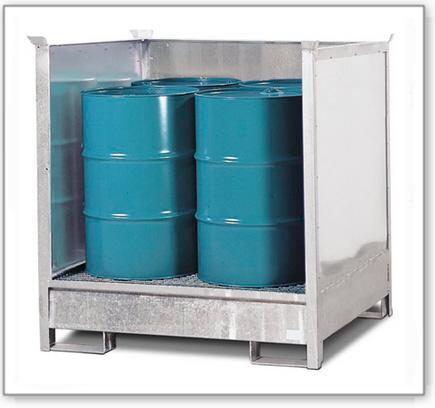 Gefahrstoffstation 4 P2-O-V50 aus Stahl, vezinkt, für 4 Fässer à 200 Liter, 3 Wände, stapelbar