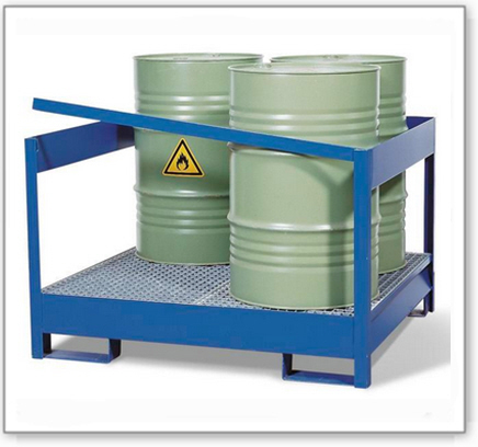 Gefahrstoffstation 4 P2-P aus Stahl, lackiert, für 4 Fässer à 200 Liter, mit Rahmen