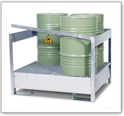Gefahrstoffstation 4 P2-P aus Stahl, verzinkt, für 4 Fässer à 200 Liter, mit Rahmen