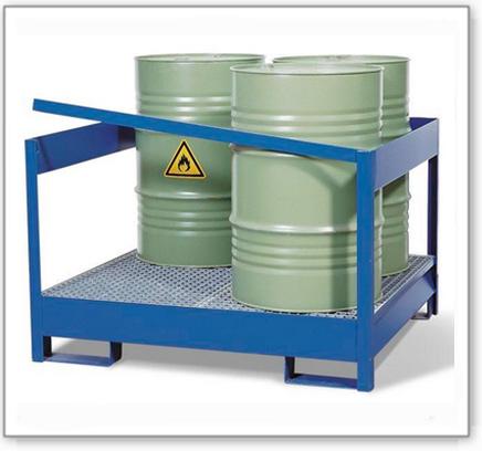 Gefahrstoffstation 4 P2-P-V50 aus Stahl, lackiert, für 4 Fässer à 200 Liter, mit Rahmen