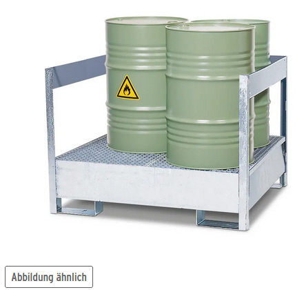Gefahrstoffstation 2 P2-P aus Stahl, verzinkt, für 2 Fässer à 200 Liter, mit Rahmen