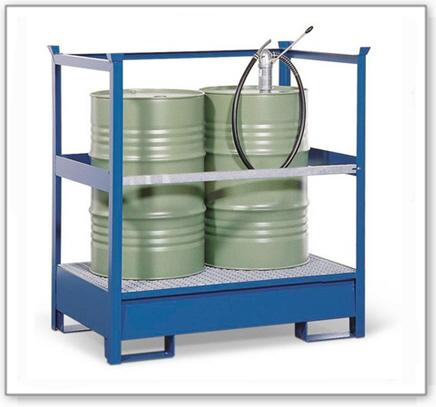 Gefahrstoffstation 2 P2-R aus Stahl, lackiert, für 2 Fässer à 200 Liter, mit Rahmen, stapelbar