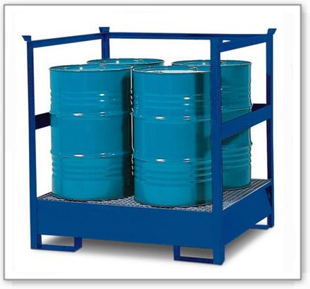 Gefahrstoffstation 4 P2-R aus Stahl, lackiert, für 4 Fässer à 200 Liter, mit Rahmen, stapelbar