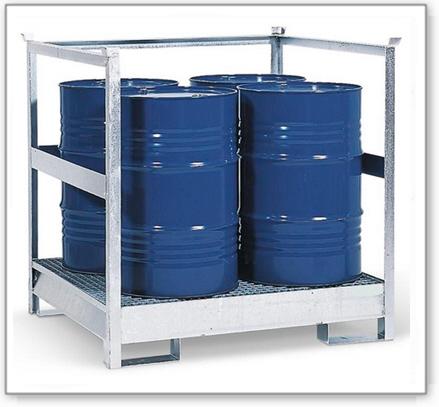 Gefahrstoffstation 4 P2-R-V50 aus Stahl, verzinkt, für 4 Fässer à 200 Liter, mit Rahmen, stapelbar