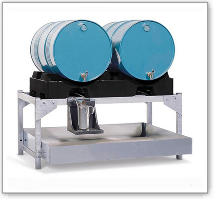 Abfüllstation classic-line aus Stahl für 2 Fässer à 200 l, verzinkt, m. PE-Fasspalette