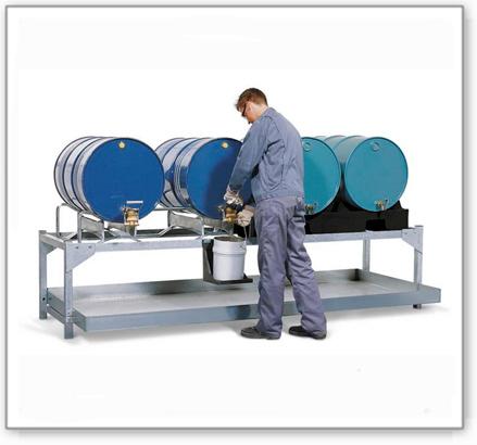 Abfüllstation classic-line aus Stahl für 4 Fässer à 200 l, verzinkt, m. 2 PE-Fasspaletten