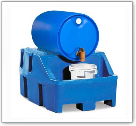 Abfüllstation PolySafe RS, Polyethylen (PE), blau, für 1 Fass à 200 Liter