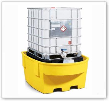 IBC-Station Basis R aus Polyethylen (PE), mit Lagerbock und Abfüllbereich, für 1 IBC, gelb