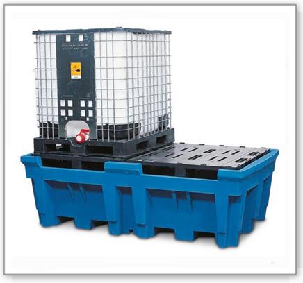 IBC-Station ECO aus Polyethylen (PE), mit Stellfläche, für 2 IBC