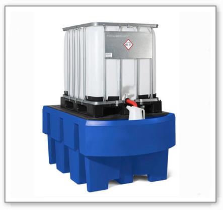 IBC-Station EURO-1R aus Polyethylen (PE), mit Abfüllbereich und PE-Gitterrost, für 1 IBC