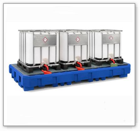 IBC-Station EURO-3R aus Polyethylen (PE), mit Abfüllbereich und verzinktem Gitterrost, für 3 IBC