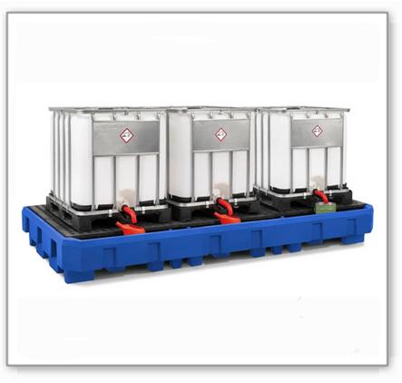 IBC-Station EURO-3R aus Polyethylen (PE), mit Abfüllbereich und PE-Gitterrost, für 3 IBC