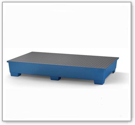 Set aus IBC-Stahl-Auffangwanne für 2 IBC, lackiert und Leckagemelder
