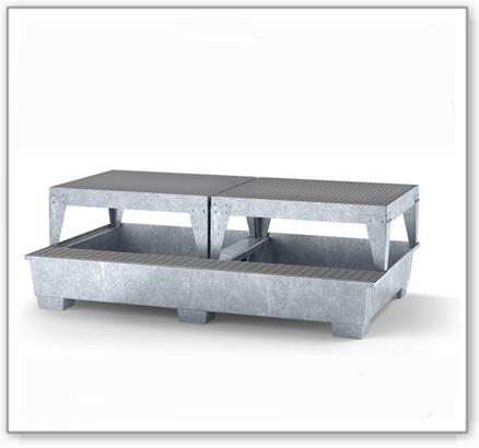 Auffangwanne classic-line aus Stahl m. Abfüllbereich für 2 IBC, verzinkt, 2 Abfüllböcke