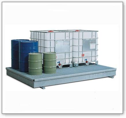 Auffangwanne classic-line aus Stahl für 12 Fässer, verzinkt, m. Gitterrost, 2906x2204x150