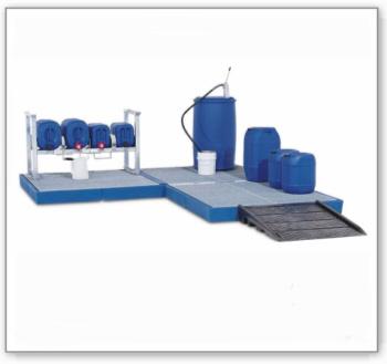 Bodenelement BK 15.15 aus Polyethylen (PE), mit verzinktem Gitterrost, 1500 x 1500 x 150 mm