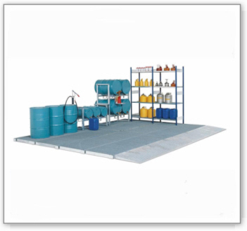 Bodenelement classic-line, verzinkt, m. Gitterrost, Radlast 450 kg, 2862x1362x78
