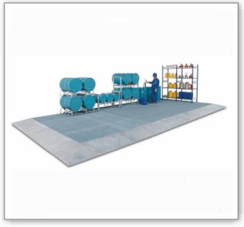 Bodenelement classic-line, verzinkt, m. Gitterrost, Radlast 450 kg, 1000x1000x123