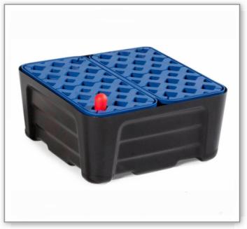 Kleingebindewanne pro-line aus Polyethylen (PE), mit PE-Gitterrost, 20 Liter, 400x400x180