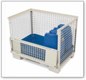 Euro-Gitterbox mit PE-Gitterboxwanne GW-Z zur Lagerung von Gefahrstoffen, 130 Liter Auffangvolumen
